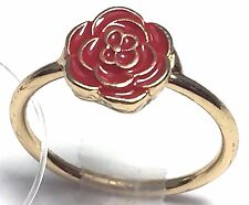 Fashion Costume Jewelry Mid Rings Knuckle Rings Size 4 Gold Metal Red Rose NEW
