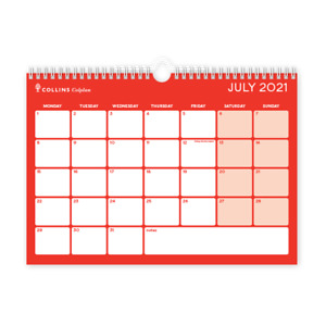 A4 Collins CMCA4 Colplan Academic Mid Year Calendar Memo Planner 2021 - 2022