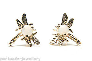 9ct Gold Opal Studs Dragonfly earrings Made in UK Gift Boxed