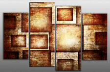 LARGE BROWN ABSTRACT RECTANGLES CANVAS ART PICTURE 40""