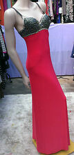 Ladies evening maxi long dress red with black studs/sequins beads UK 8 GODDESS