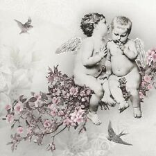 4 Single paper decoupage napkins. Vintage design. Sweet angels  -205