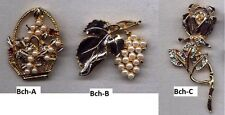 3 Charming Brooches: Basket Flower, Bunch Grape & Stem Rose, Free Shipping