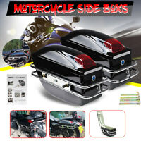 1Pair Universal Motorcycle Hard Tank Saddle Bags Side Boxs Luggage Case W/ Light