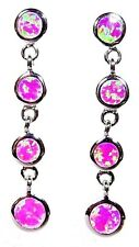"Silver 925 SF Post Earrings Pink Lab Fire Opal FOUR CIRCLES 1 3/8"" Drop"