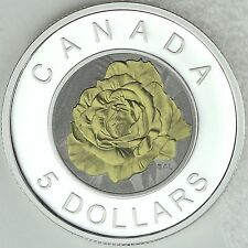 2014 $5 Rose - Flowers of Canada Series Bi-Metallic Silver Niobium Proof Coin