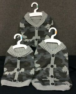 Top Paw Gray Camo Cardigan for Dogs~ Your Choice of S, M, or L~ NEW with Tags!