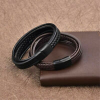 Fashion Men's Simple Concise Braided Leather Bangle Bracelet Jewelry Black/Brown