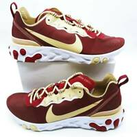 Nike Mens React Element 55 Running Shoes Red CK4838-600 Lace Up Low Top 10.5 New