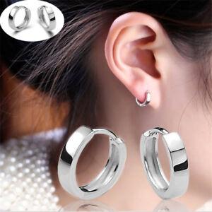 Fashion 925 Sterling Silver Plated Hoop Stud Earrings Unisex Jewelry UK Seller