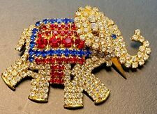 """Gold Elephant Brooch/Pin with Blue, Red and Clear Rhinestones 2-1/8""""x 1-3/8"""""""