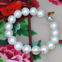 """AAAAA 7.5""""12-13mm Natural real ROUND south sea WHITE pearl bracelet 14K GOLD"""
