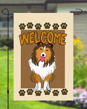 Shetland Sheltie Welcome Dog Garden Banner Flag 11x14 to 12x18 Pet Yard Decor