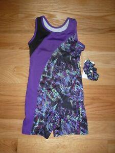 BNWT Girls Danskin Purple Multi-colored biketard Size M 7/8 with Hair Scrunchie