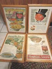 Vintage framed kitchen ads Advertising Campbell Del Monte Heinz Campbell's NAT