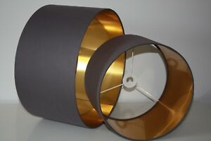 Lampshade, Dark Grey cotton with Brushed Gold Lining, Silver or Copper lining
