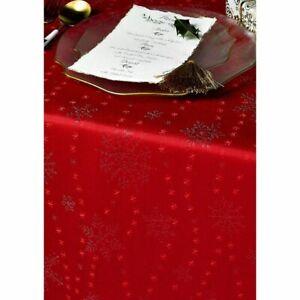Diana Cowpe 'Christmas Snowflake' Table Cloth - Red (137 x 183 cm)