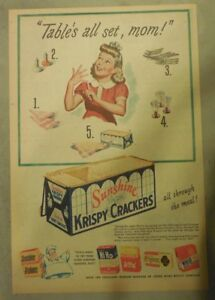 Sunshine Krispy Crackers Ad: Tables All Set Mom from 1940's Size: 11 x 15 inches