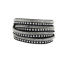 Lux Accessories Black Gem Stud Wrap Bracelet