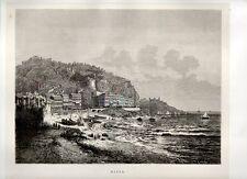 Stampa antica originale NIZZA Nice Francia Veduta 1876 Ancien Gravure Old Print