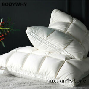 Include 2Pcs White Pink Premium High End Natural Goose Down Pillows 100% Cotton