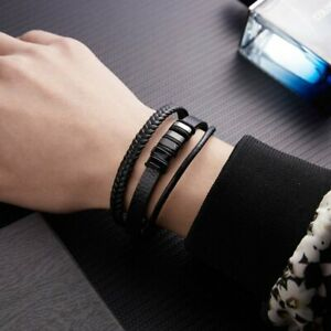 Stainless Steel Multilayer Magnetic Buckle Leather Bracelets Cuff Bangle Men