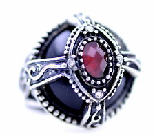 Vintage Art Deco punk goth style silver and black ring with ruby red crystal