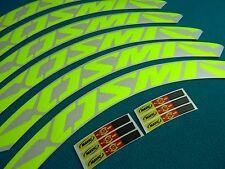 "MAVIC COSMIC CARBONE ULTIMATE FLUORESCENT YELLOW ""LAMPRE GREEN"" RIM DECAL SET"