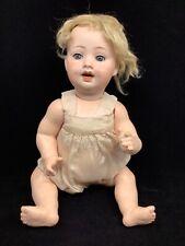 16� Porzellanfabrik Mengersgereuth Doll. Blue sleepy eyes. Two top teeth.