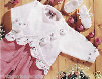 Vintage Knitting Pattern- make a baby cardigan in DK-rosebud scallop leaf edge