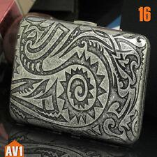 Cigarette case pure copper. Antique tatoo. Quality metal brass 16 filter holder.