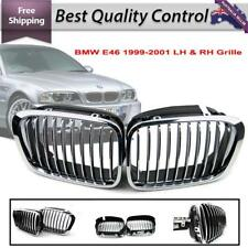 1 pair Rad Grille Fits for BMW E46 99-01 OEM Silver Chrome (Left + Right)