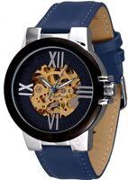 Minoir Uhren - Modell Ussel silber/blau Automatikuhr Skelettuhr