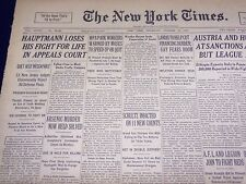 1935 OCT 10 NEW YORK TIMES - HAUPTMANN LOSES FIGHT IN APPEALS COURT - NT 4306