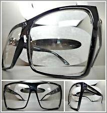 OVERSIZE VINTAGE RETRO NERD CLUB RAVE Clear Lens EYE GLASSES Black Fashion Frame