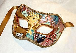 Parisienne Opera Salmon Hand painted -Italian Made - Vintage Masquerade Mask