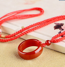 Chinese beautiful natural Red jade hand-carved Lucky Buckle Jadeite pendant 1pc
