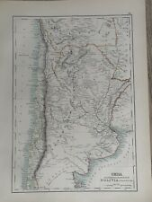 1897 CHILE & ARGENTINA ORIGINAL ANTIQUE MAP A & C BLACK 123 YEARS OLD