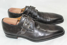 Men Magnanni Marco Monk Strap Loafer Shoe Buckle 10.5M Catalux Grey Leather (R5)