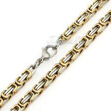Men Chain Stainless Steel Silver/Gold/Black Tone Byzantine Box Necklace Bracelet