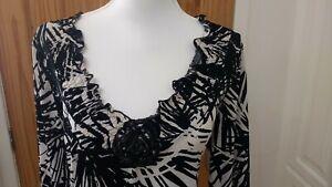 Chianti Womens Ebony Black & Ivory Print Stretchy 3/4 Sleeve Fashion Top UK 20