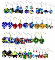 Multi Coloured Rainbow Earrings Crystal Glass Millefiori