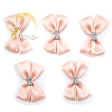 10PCS Pink Satin Ribbon Flowers Bow Applique Wedding Dress Sewing Trim DIY Craft