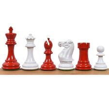 """4.1"""" Pro Staunton Weighted Red & White Painted Wooden Chess Pieces Set -4 queens"""