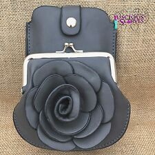 Dark Grey Rose Purse Small bag with Mobile Phone Spectacles Holder Long Strap