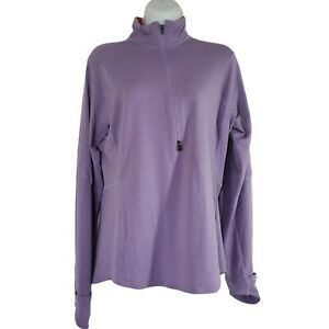 Patagonia Womens Top Large Purple 1/4 Zip Neck Stretch Shirt Long Sleeve Active