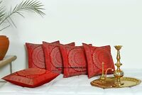 "Red Indian Ethnic Mandala Silk Brocade Cushion Covers Handmade 16"" Zip Back"