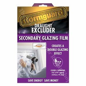 Stormguard Double Glazing Window Insulation Film Shrink Draught Excluder 6 m²