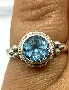 Vintage Topaz Ring Round Cut Solitaire 925 Sterling Silver Ring Size 6