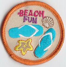 Boy Cub Girl Scouts Embroidered Badge Fun Patch Badge~Beach Fun Flip Flops Shell